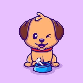 Schattige hond zit met bot cartoon vectorillustratie pictogram. dierlijke natuur pictogram concept geïsoleerd premium vector. platte cartoonstijl