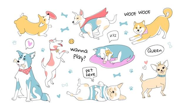 Schattige honden doodle karakters. honden van verschillende rassen. schattige huisdieren met pastel kleurenpalet. hand getekende stijl. husky, pug, corgi, shiba inu