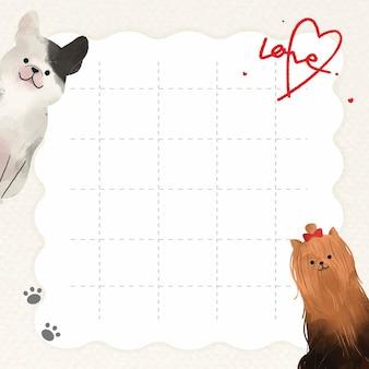 Schattige honden op rasterachtergrond