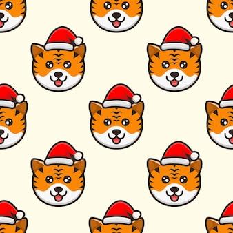 Schattige hoofdtijger met hoed kerstpatroonontwerp