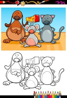 Schattige huisdieren cartoon kleurboek