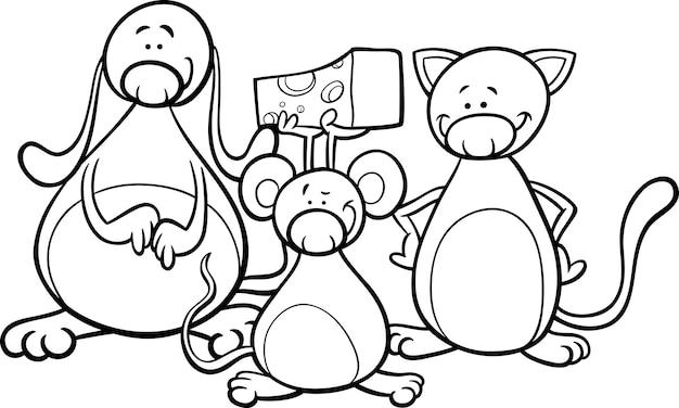 Schattige huisdieren cartoon kleurplaat