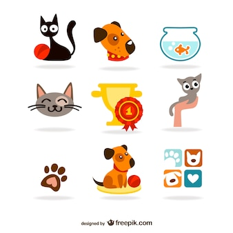 Schattige huisdieren iconen