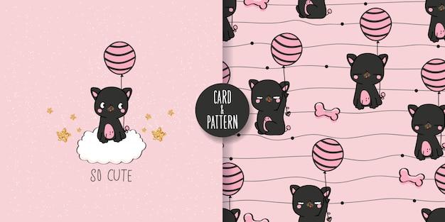 Schattige huisdierentekeningen handgetekend huisdier een ballon in de hand houden een eenvoudig kostuum met patronen dragen gebaren grappig en leuk kleurrijk gezicht glimlach in naadloos patroon en illustratie