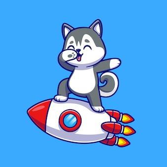 Schattige husky hond deppen op rocket cartoon vectorillustratie pictogram. dierlijke technologie pictogram concept geïsoleerd premium vector. platte cartoonstijl