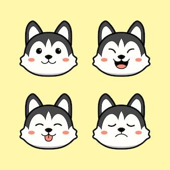 Schattige husky hond met gezichtsuitdrukking animal set