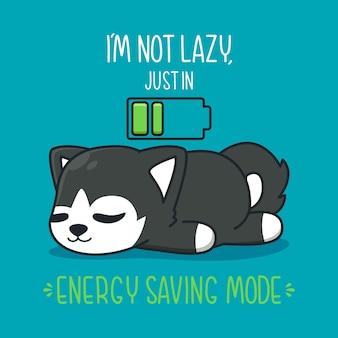 Schattige husky slapen met batterij