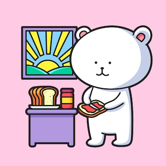 Schattige ijsbeer brood eten
