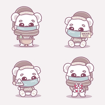 Schattige ijsbeer draagt een medisch masker, wast handen en gebruikt handdesinfecterend middel om coronavirus covid-1 te beschermen. nieuw normaal kerstconcept