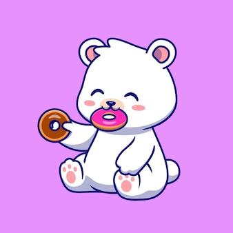 Schattige ijsbeer eten donut cartoon vectorillustratie pictogram. dierlijk voedsel pictogram concept geïsoleerd premium vector. platte cartoonstijl