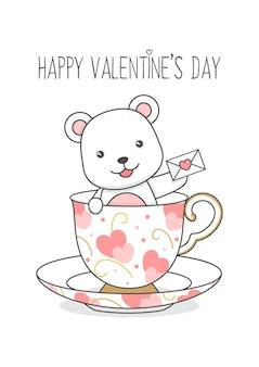Schattige ijsbeer in een beker met liefdesbrief valentijnsdag