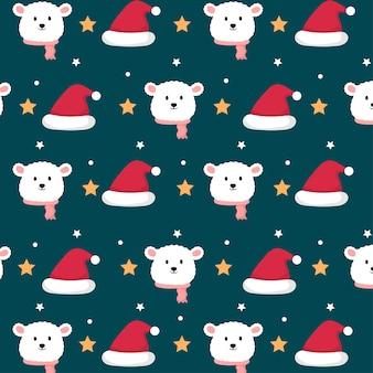 Schattige ijsbeer in kerstthema naadloos patroon