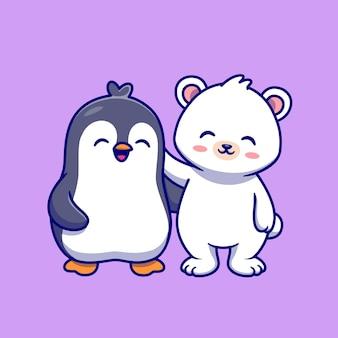 Schattige ijsbeer met pinguïn cartoon vectorillustratie pictogram. dierlijke natuur pictogram concept geïsoleerd premium vector. platte cartoonstijl