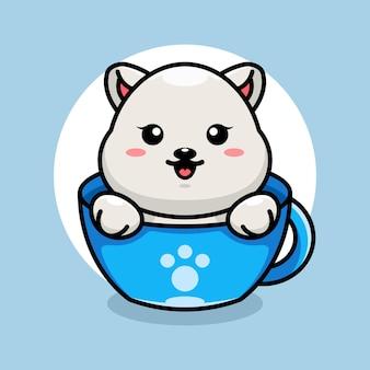 Schattige ijsbeer op kopje koffie cartoon