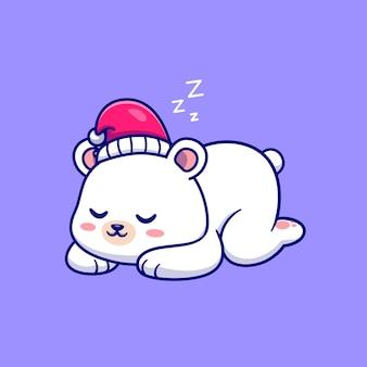 Schattige ijsbeer slapen cartoon vectorillustratie pictogram. dierlijke natuur pictogram concept geïsoleerd premium vector. platte cartoonstijl