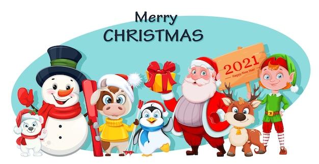 Schattige ijsbeer, sneeuwpop, stier, pinguïn, kerstman, hert en elf