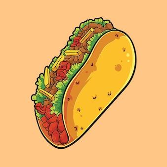 Schattige illustratie van een verrukkelijke taco's, in hoge kwaliteit