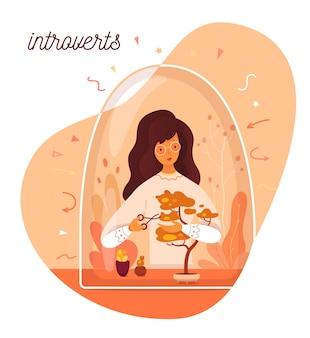 Schattige illustratie van introverte individualiteit, introversie vrouw geeft bonsaiplant