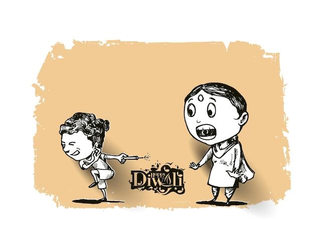 Schattige indiase kinderen genieten van voetzoeker vieren diwali, hand getrokken schets vectorillustratie.
