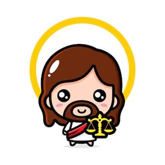 Schattige jezus christus die de weegschaal van gerechtigheid houdt