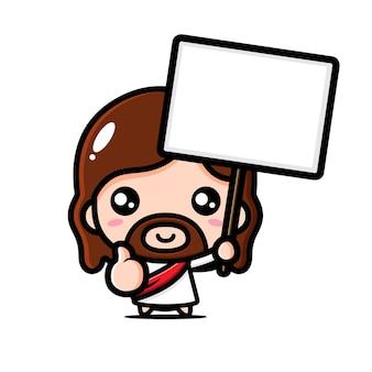 Schattige jezus christus die goed poseert met een leeg tekstbord