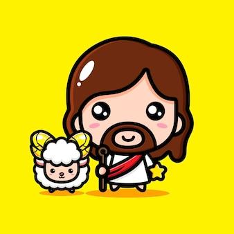 Schattige jezus christus met schattig lam