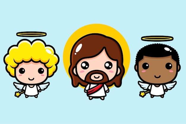 Schattige jezus christus met schattige engel