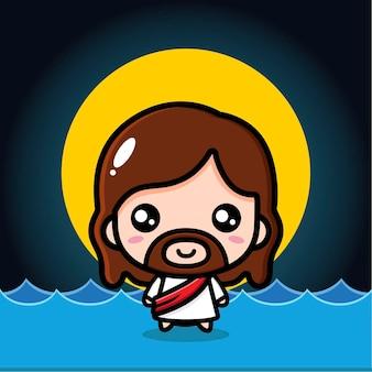 Schattige jezus christus staande op het water