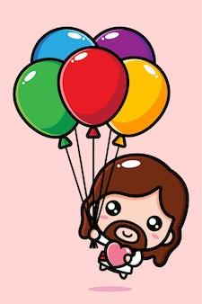 Schattige jezus christus vliegen met kleurrijke ballonnen