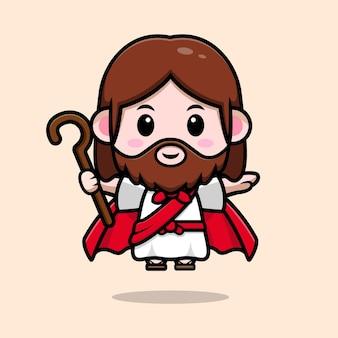Schattige jezus christus vliegt met gewaad en houdt stok vector cartoon christelijke illustratie