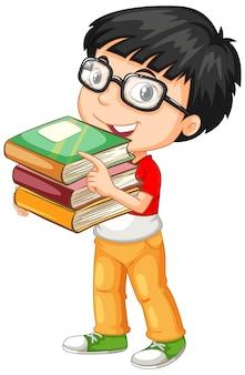 Schattige jonge jongen stripfiguur met boeken