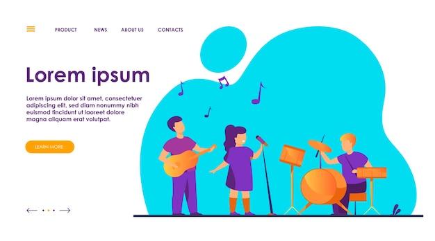 Schattige jonge muzikanten op school muziekfestival vlakke afbeelding.