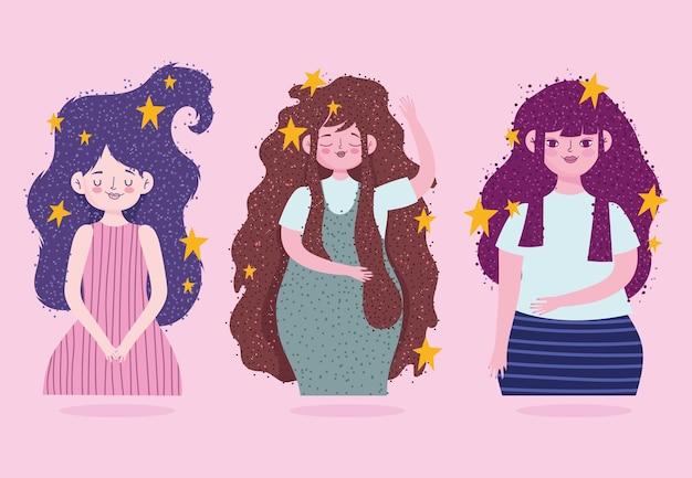 Schattige jonge vrouwen cartoon sterren lang haar gloeiende illustratie