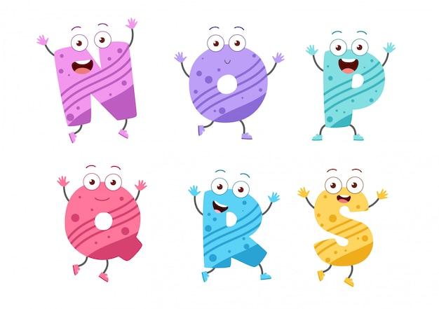 Schattige jongen alfabet set