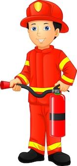 Schattige jongen brandweerman geïsoleerd op wit