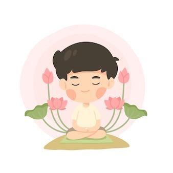 Schattige jongen cartoon in meditatie pose