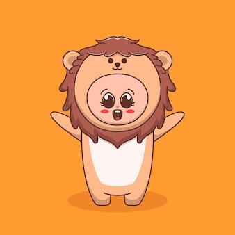 Schattige jongen die een illustratie van een leeuwenkostuum gebruikt
