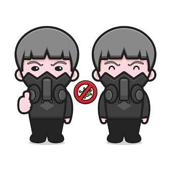 Schattige jongen die een masker draagt dat zich bewust is van het pictogram van de viruscartoon