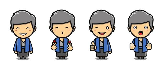 Schattige jongen die kimono-mascotte-tekenfilmset draagt
