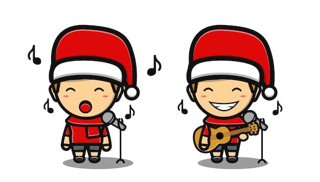 Schattige jongen die zingt in de kerstnacht-cartoon
