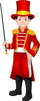 Schattige jongen draagt een fanfare-leider kostuum