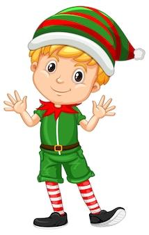 Schattige jongen draagt kerst kostuums stripfiguur
