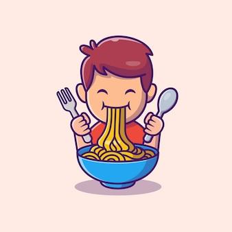 Schattige jongen eet ramen noodle cartoon pictogram illustratie. mensen eten pictogram concept geïsoleerd. flat cartoon stijl