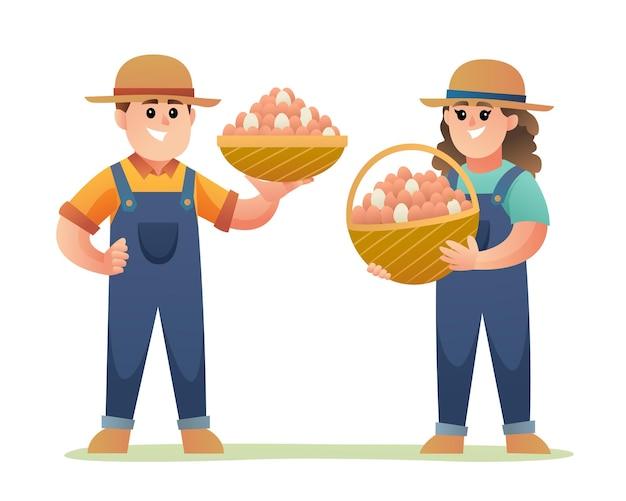 Schattige jongen en meisje van kippenboer met mand gevuld met eieren stripfiguren