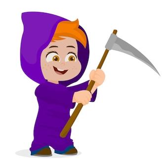 Schattige jongen halloween-teken in magere hein kostuum