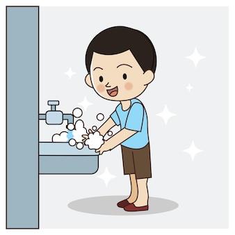 Schattige jongen handen wassen. veilig voor virus, covid-19