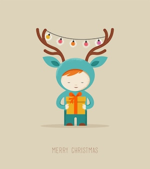 Schattige jongen in een hert kerst kostuum wenskaart