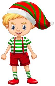 Schattige jongen in kerst kostuum stripfiguur