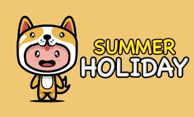 Schattige jongen in zomervakantie banner ontwerp