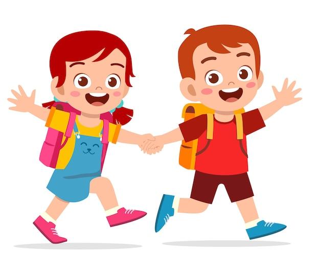 Schattige jongen jongen en meisje hand houden en gaan samen naar school illustratie